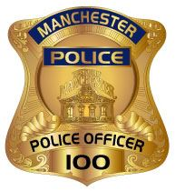 Manchester police officer shield in gold color