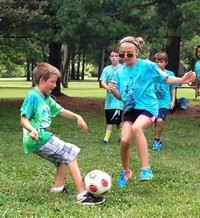 Playing soccer at Sports Camp